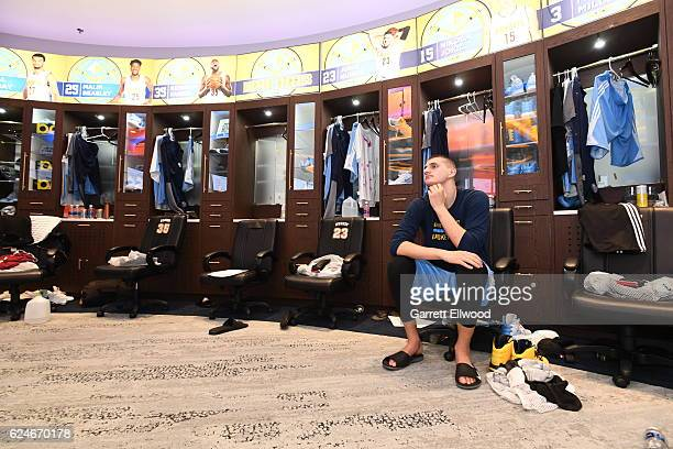 Nikola Jokic of the Denver Nuggets relaxes before the game against the Golden State Warriors on November 10 2016 at the Pepsi Center in Denver...