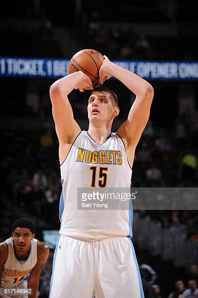 Nikola Jokic of the Denver Nuggets shoots a free throw against the Philadelphia 76ers on March 23 2016 at the Pepsi Center in Denver Colorado NOTE TO...
