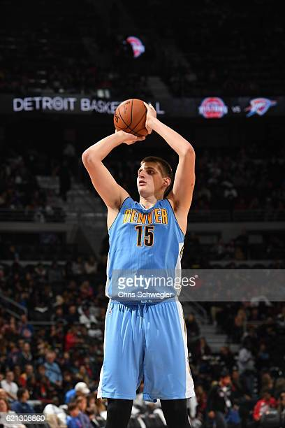 Nikola Jokic of the Denver Nuggets shoots a free throw against the Detroit Pistons on November 5 2016 at The Palace of Auburn Hills in Auburn Hills...