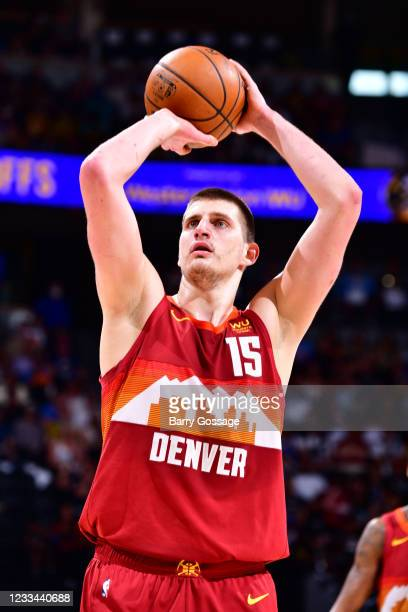 Nikola Jokic of the Denver Nuggets shoots a free throw during Round 2, Game 4 of the 2021 NBA Playoffs on June 13, 2021 at the Ball Arena in Denver,...