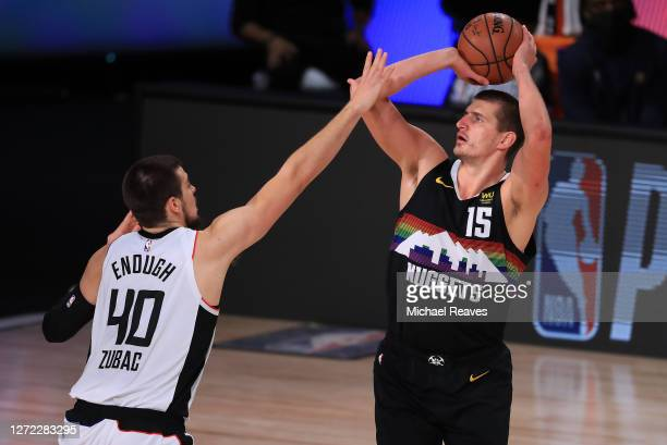 Nikola Jokic of the Denver Nuggets shoots over Ivica Zubac of the LA Clippers during the first quarter in Game Six of the Western Conference Second...