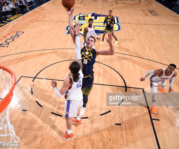 Nikola Jokic of the Denver Nuggets shoots the ball against the Oklahoma City Thunder on February 1 2018 at the Pepsi Center in Denver Colorado NOTE...