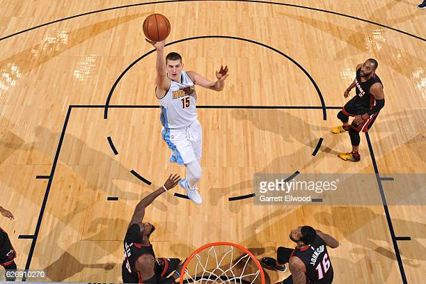 Nikola Jokic of the Denver Nuggets shoots the ball against the Miami Heat on November 30 2016 at the Pepsi Center in Denver Colorado NOTE TO USER...