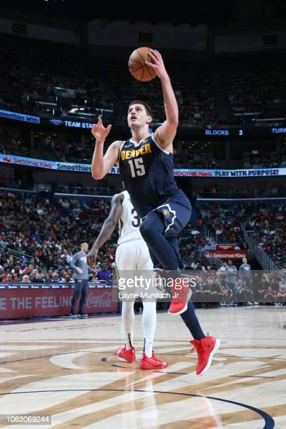 Nikola Jokic of the Denver Nuggets shoots the ball against the New Orleans Pelicans on November 17 2018 at the Smoothie King Center in New Orleans...