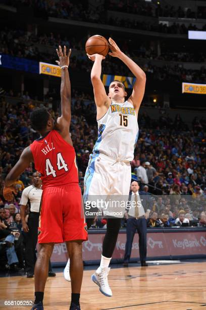 Nikola Jokic of the Denver Nuggets shoots the ball against the New Orleans Pelicans on March 26 2017 at the Pepsi Center in Denver Colorado NOTE TO...