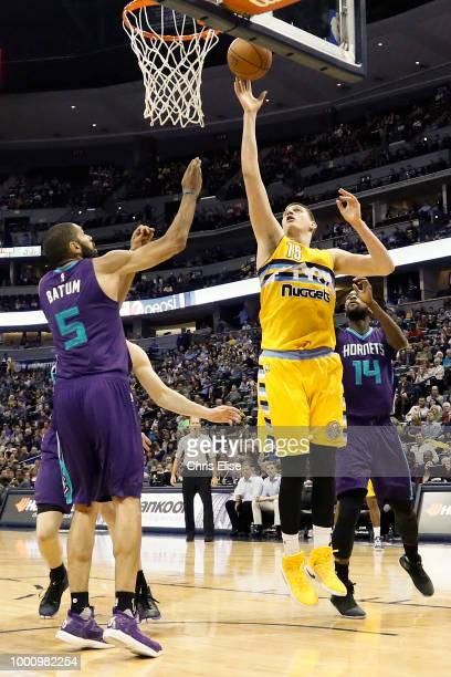 Nikola Jokic of the Denver Nuggets shoots the ball against the Charlotte Hornets on March 4 2017 at the Pepsi Center in Denver Colorado NOTE TO USER...