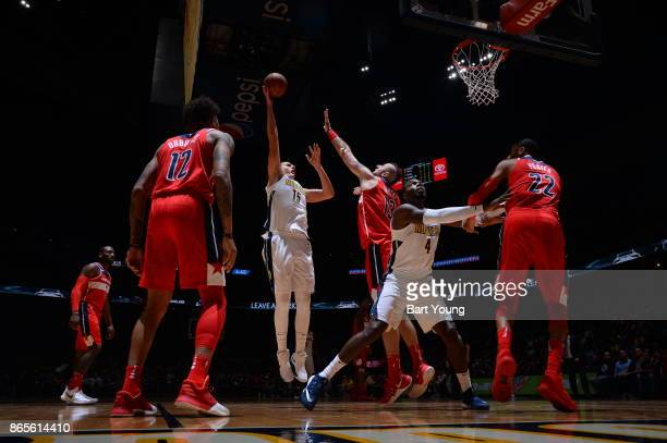 Nikola Jokic of the Denver Nuggets shoots the ball against the Washington Wizards on October 23 2017 at the Pepsi Center in Denver Colorado NOTE TO...