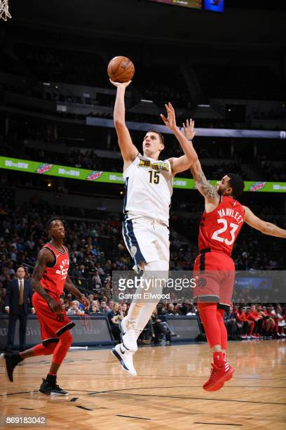 Nikola Jokic of the Denver Nuggets shoots the ball against the Toronto Raptors on November 1 2017 at the Pepsi Center in Denver Colorado NOTE TO USER...