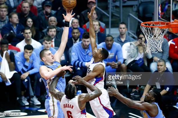 Nikola Jokic of the Denver Nuggets shoots the ball against the LA Clippers on December 26 2016 at the STAPLES Center in Los Angeles California NOTE...