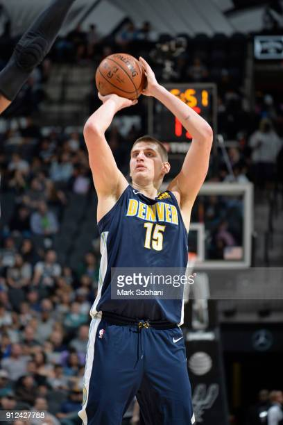 Nikola Jokic of the Denver Nuggets shoots the ball against the San Antonio Spurs on January 30 2018 at the ATT Center in San Antonio Texas NOTE TO...