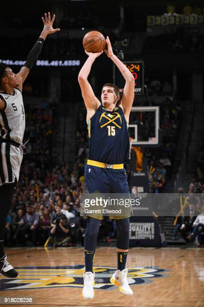 Nikola Jokic of the Denver Nuggets shoots the ball against the San Antonio Spurs on February 13 2018 at the Pepsi Center in Denver Colorado NOTE TO...