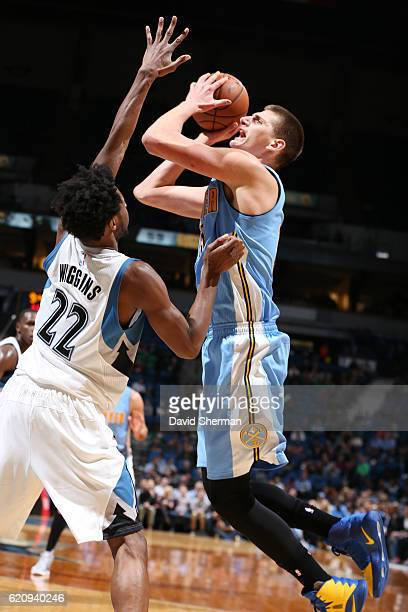Nikola Jokic of the Denver Nuggets shoots the ball against the Minnesota Timberwolves during the game on November 3 2016 at Target Center in...