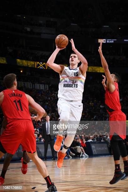 Nikola Jokic of the Denver Nuggets shoots the ball against the Portland Trail Blazers on January 13 2019 at the Pepsi Center in Denver Colorado NOTE...