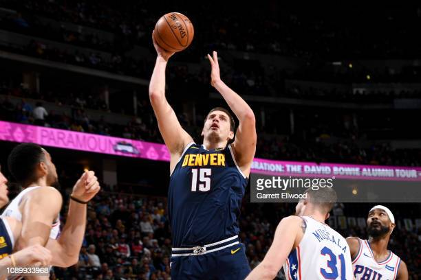 Nikola Jokic of the Denver Nuggets shoots the ball during the game against the Philadelphia 76ers on January 26 2019 at the Pepsi Center in Denver...
