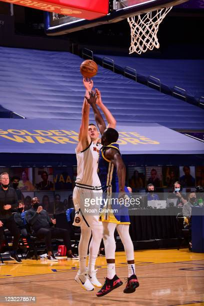 Nikola Jokic of the Denver Nuggets shoots the ball during the game against the Golden State Warriors on April 12, 2021 at Chase Center in San...