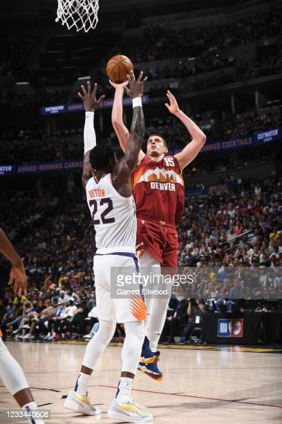 Nikola Jokic of the Denver Nuggets shoots the ball during the game against the Phoenix Suns during Round 2, Game 4 of the 2021 NBA Playoffs on June...
