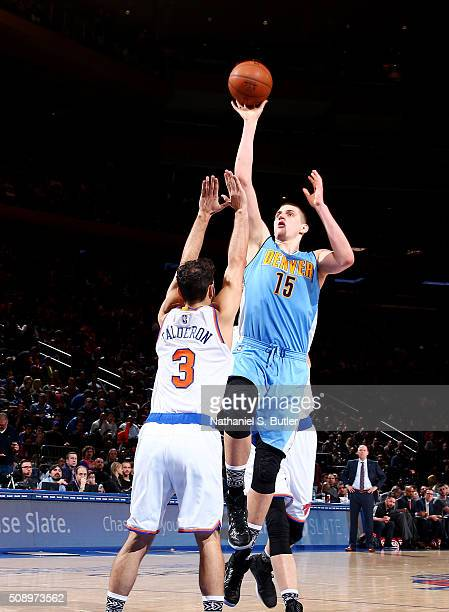 Nikola Jokic of the Denver Nuggets shoots the ball during the game against the New York Knicks on February 7 2016 at Madison Square Garden in New...
