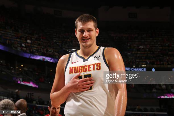 Nikola Jokic of the Denver Nuggets smiles during a game against the New Orleans Pelicans on October 31, 2019 at the Smoothie King Center in New...