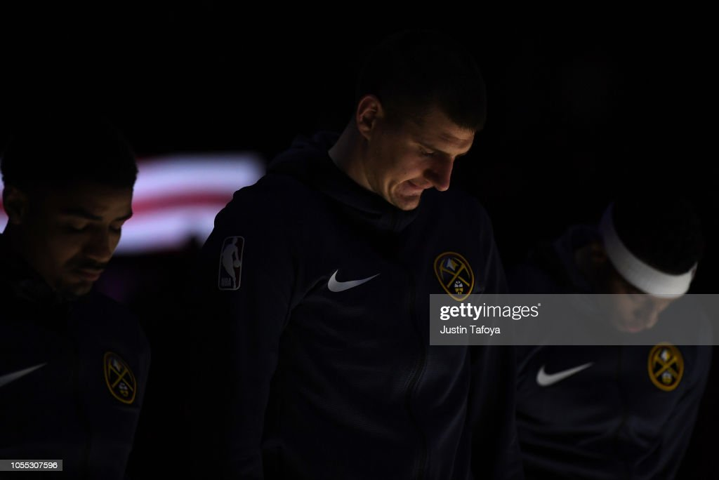 Nikola Jokic of the Denver Nuggets stands for the National