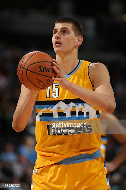Nikola Jokic of the Denver Nuggets takes a free throw against the Phoenix Suns at Pepsi Center on November 20 2015 in Denver Colorado The Suns...