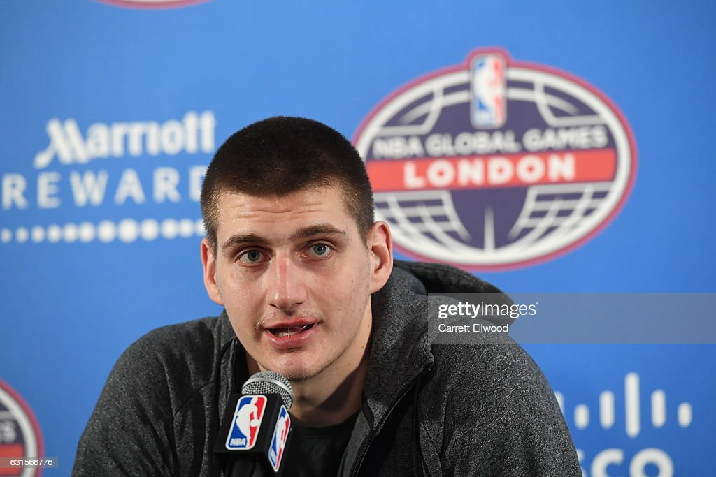 Nikola Jokic #15 of the Denver Nuggets talks to the media following the game as part of 2017 NBA London Global Games at the O2 Arena on January 12, 2017 in London, England.