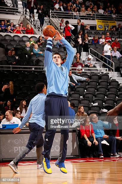 Nikola Jokic of the Denver Nuggets warms up before the game against the Detroit Pistons on November 5 2016 at The Palace of Auburn Hills in Auburn...