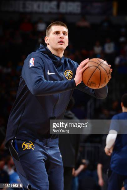 Nikola Jokic of the Denver Nuggets warms up prior to the game against the Portland Trail Blazers on April 5, 2019 at the Pepsi Center in Denver,...