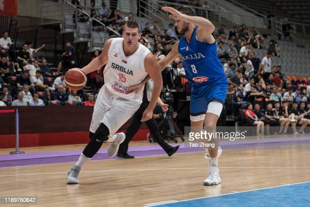 Nikola Jokic of the Serbia National Team drives against the Italy National Team during the International Men's Basketball Super Tournament 2019 match...