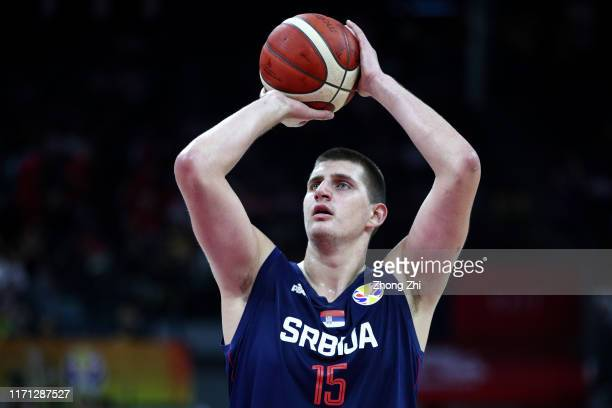 Nikola Jokic of the Serbia National Team in action against the Angola National Team during the 1st round of 2019 FIBA World Cup at GBA International...