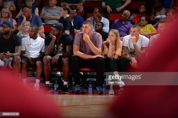 Nikola Jokic of the the Denver Nuggets attends the game against the Milwaukee Bucks during the 2018 Las Vegas Summer League on July 9 2018 at the Cox...