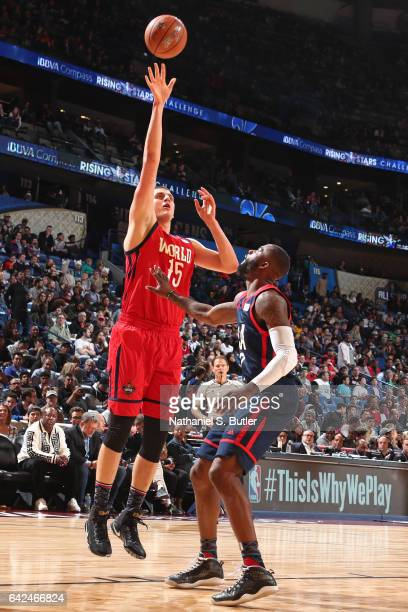 Nikola Jokic of the USA Team shoots the ball during the BBVA Compass Rising Stars Challenge as part of 2017 AllStar Weekend at the Smoothie King...