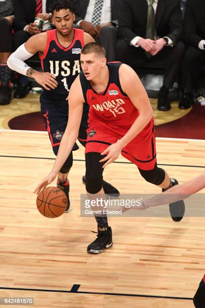 Nikola Jokic of the World Team handles the ball during the BBVA Compass Rising Stars Challenge as part of 2017 AllStar Weekend at the Smoothie King...