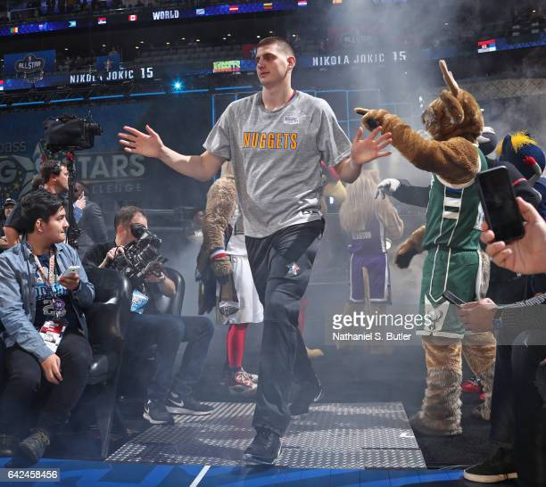 Nikola Jokic of the World Team runs out before the BBVA Compass Rising Stars Challenge as part of 2017 AllStar Weekend at the Smoothie King Center on...