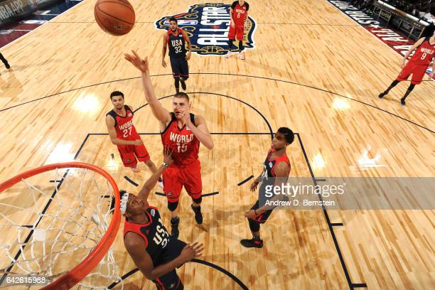 Nikola Jokic of the World Team shoots the ball against the USA Team during the BBVA Compass Rising Stars Challenge as part of 2017 AllStar Weekend at...