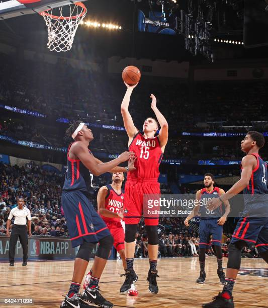 Nikola Jokic of the World Team shoots the ball during the BBVA Compass Rising Stars Challenge as part of 2017 AllStar Weekend at the Smoothie King...