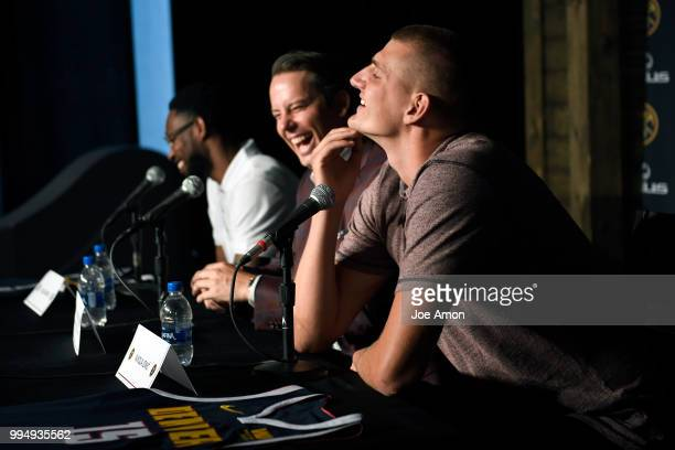 Nikola Jokic speaks during a press conference for Josh Kroenke vice chairman of Kroenke Sports and Entertainment and the Nuggets announce new...