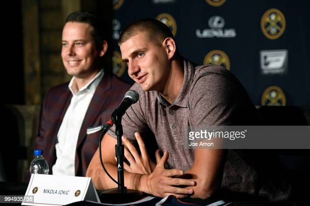 Nikola Jokic speaks during a press conference for Josh Kroenke vice chairman of Kroenke Sports and Entertainment and the Nuggets to announce new...