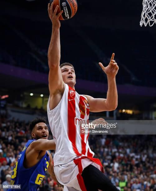 Nikola Jovanovic of Crvena Zvezda in action against Jonah Bolden of Maccabi during the 2017/2018 Turkish Airlines EuroLeague Regular Season game...