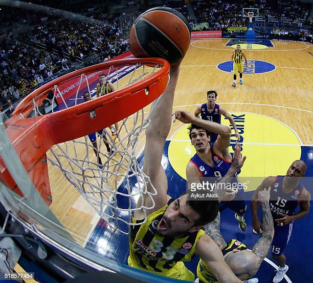 Nikola Kalinic #33 of Fenerbahce Istanbul in action during the 20152016 Turkish Airlines Euroleague Basketball Top 16 Round 13 game between...