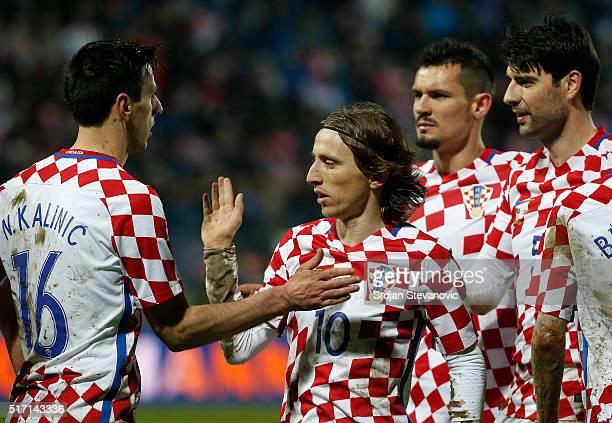 Nikola Kalinic Luka Modric Dejan Lovren and Vedran Corluka of Croatia celebrate during the International Friendly match between Croatia and Israel at...