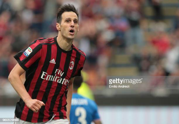 Nikola Kalinic of AC Milan celebrates his goal during the serie A match between AC Milan and ACF Fiorentina at Stadio Giuseppe Meazza on May 20, 2018...