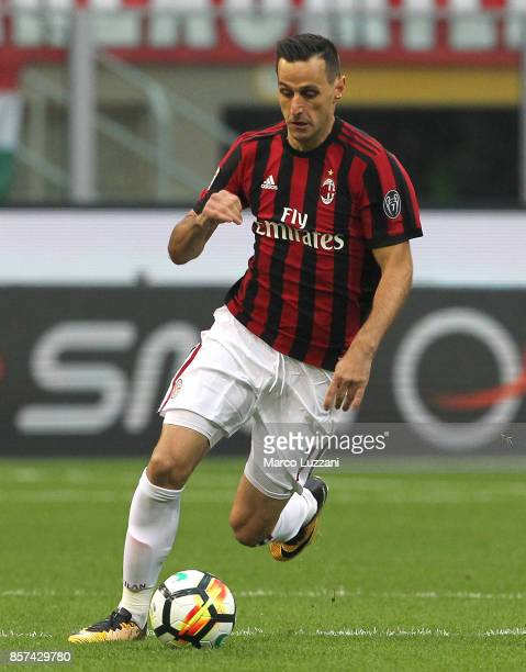Nikola Kalinic of AC Milan in action during the Serie A match between AC Milan and AS Roma at Stadio Giuseppe Meazza on October 1 2017 in Milan Italy
