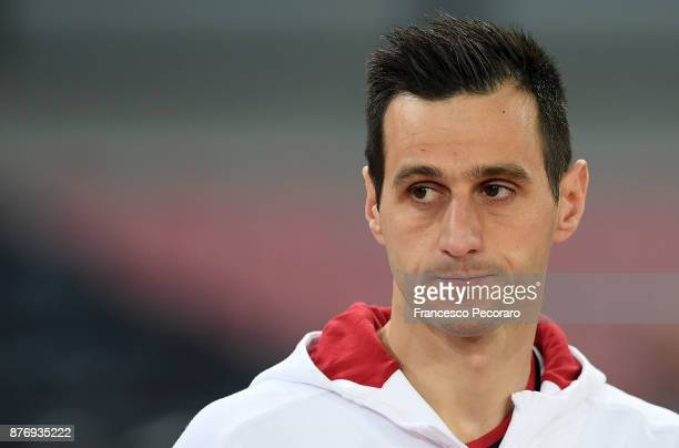 Nikola Kalinic of AC Milan in action during the Serie A match between SSC Napoli and AC Milan at Stadio San Paolo on November 18, 2017 in Naples,...