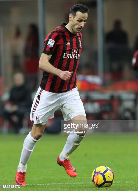 Nikola Kalinic of AC Milan in action during the Serie A match between AC Milan and Torino FC at Stadio Giuseppe Meazza on November 26 2017 in Milan...