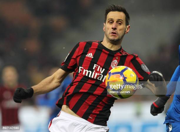 Nikola Kalinic of AC Milan in action during the Serie A match between AC Milan and Bologna FC at Stadio Giuseppe Meazza on December 10 2017 in Milan...