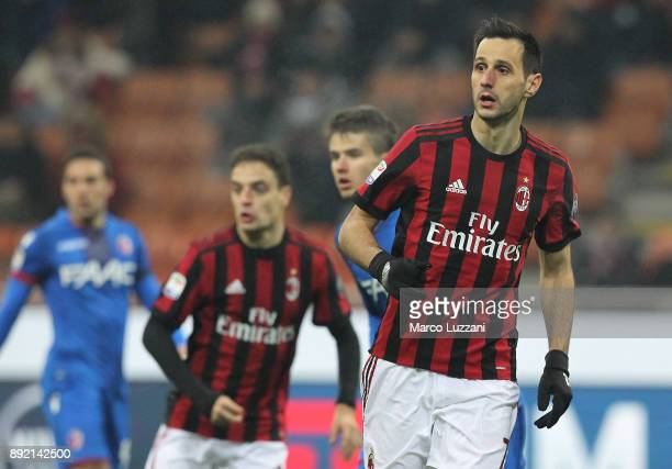 Nikola Kalinic of AC Milan looks on during the Serie A match between AC Milan and Bologna FC at Stadio Giuseppe Meazza on December 10 2017 in Milan...