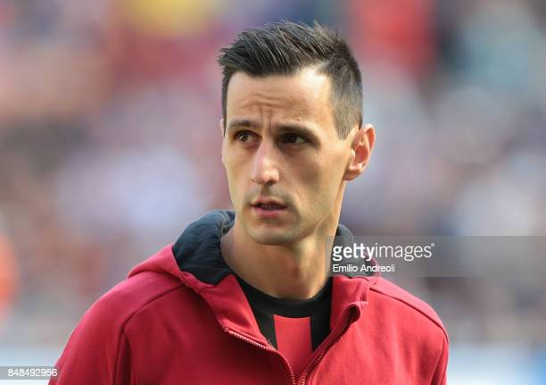 Nikola Kalinic of AC Milan looks on prior to the Serie A match between AC Milan and Udinese Calcio at Stadio Giuseppe Meazza on September 17 2017 in...