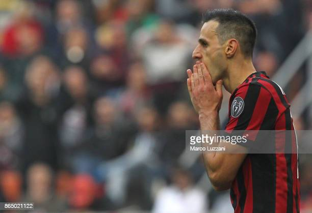Nikola Kalinic of AC Milan reacts to a missed chance during the Serie A match between AC Milan and Genoa CFC at Stadio Giuseppe Meazza on October 22...