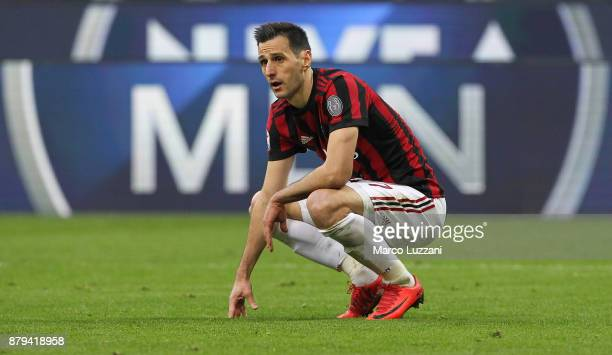 Nikola Kalinic of AC Milan reacts to a missed chance during the Serie A match between AC Milan and Torino FC at Stadio Giuseppe Meazza on November 26...