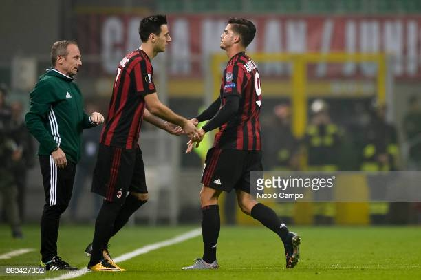 Nikola Kalinic of AC Milan substitutes Andre Silva during the UEFA Europa League football match between AC Milan and AEK Athens The match ended in a...